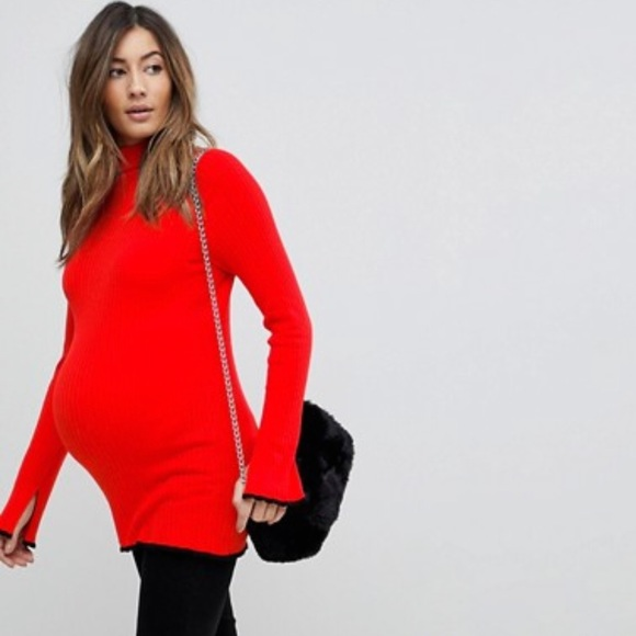 f8179be4efce7 ASOS Maternity Tops - ASOS maternity turtleneck size 6, red